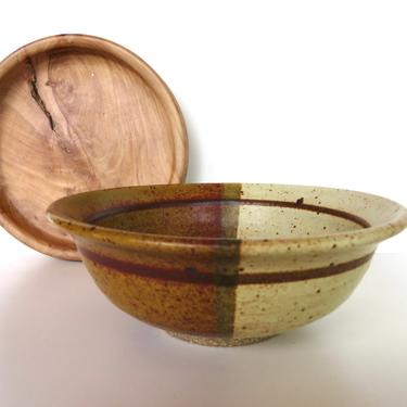 Vintage Studio Pottery Bowl, Hand Thrown Earthen Dip Glaze Stoneware Bowl By Stearns by HerVintageCrush