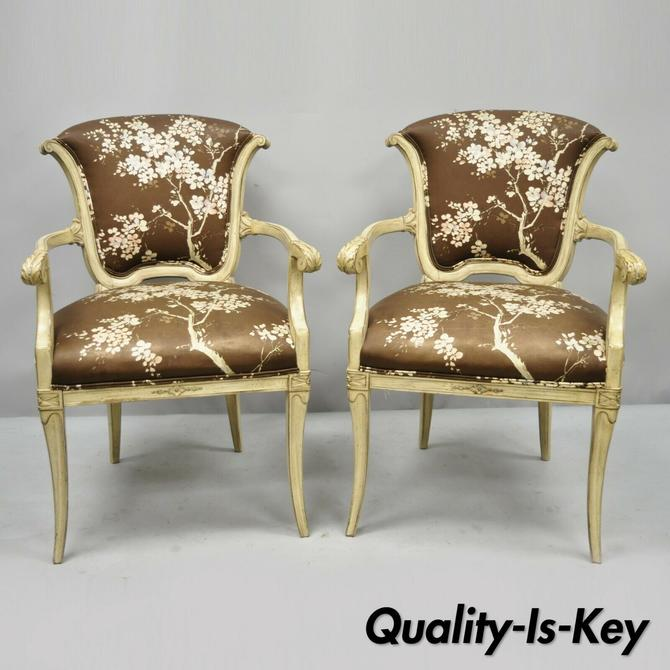 Pair of Vintage French Hollywood Regency Style Italian Cream Painted Arm Chairs