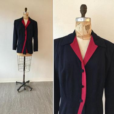 Dressage 40s Jacket | Vintage navy red gabardine blazer | 1940s tailored navy long suit jacket by BeeandMason