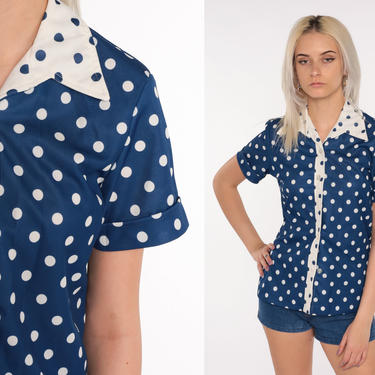 Polka Dot Shirt 70s Top Button Up Shirt Blue Blouse Boho Disco 1970s Dagger Collar Nerd Geek Vintage Short Sleeve Brown Retro Small Medium by ShopExile