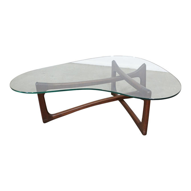 Adrian Pearsall Mid-Century Modern Amorphous Kidney Walnut Glass Coffee Table by AnnexMarketplace