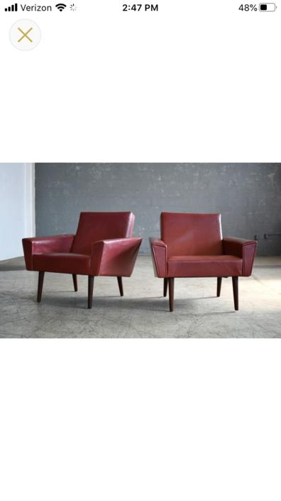 Pair of Vintage Danish Leather Club\/Lounge Chairs