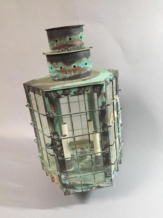 Large Maritime Style Copper Lamp