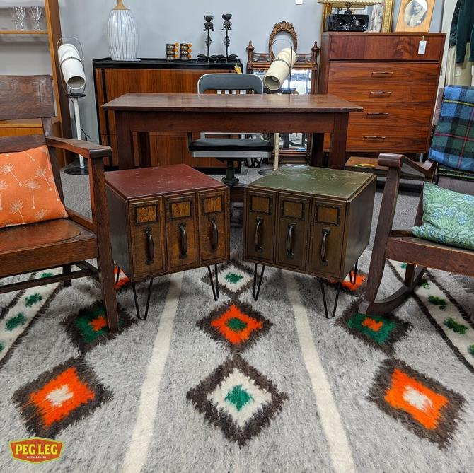 Vintage Industrial card catalog side tables with hairpin legs