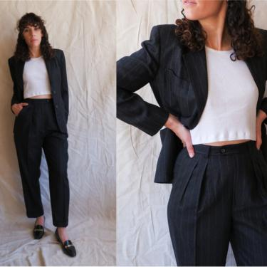 Vintage Charcoal Ralph Lauren Pinstripe Pant Suit/ 1990s Grey Blazer and Trousers Set/ Size Small by bottleofbread