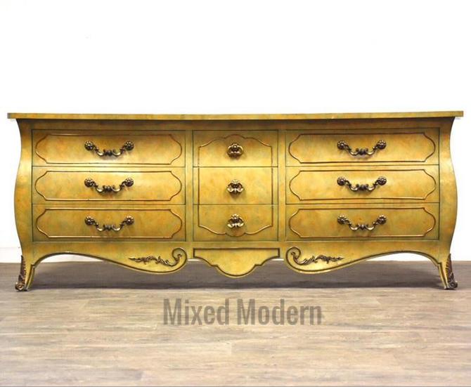 Mastercraft Burl & Brass Dresser by mixedmodern1