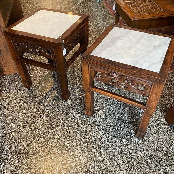 "Marble top tables, 16""L x 16""W x 20""T"