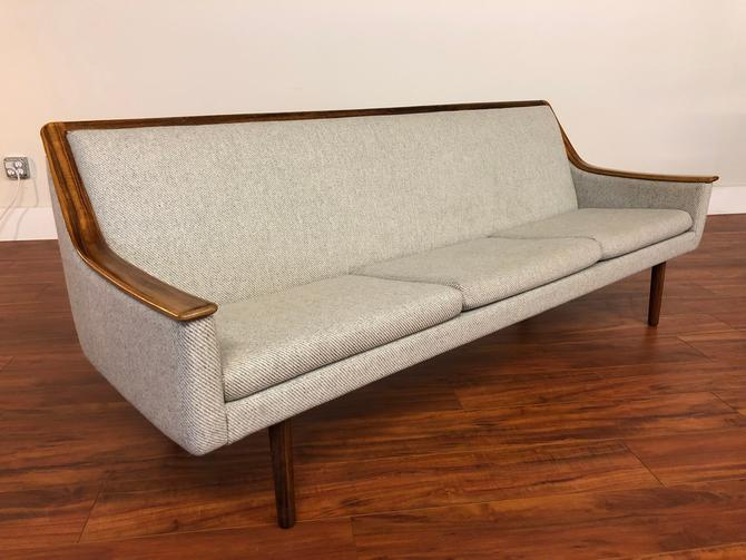 Vintage Rosewood Trim Wool Sofa by Vintagefurnitureetc