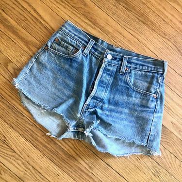 Levi's 501 Cutoffs // vintage 80s USA boho denim jean hippie hippy cut offs dress cut-offs shorts medium wash jeans cut // XS/S 25 26 by FenixVintage