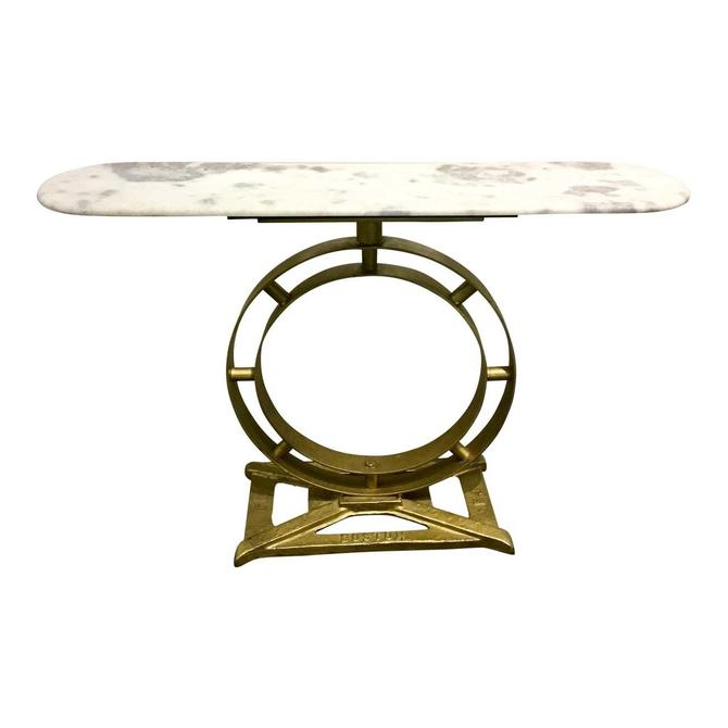 Cyan Design Modern White and Gray Marble Top Console Table