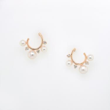 Freshwater Pearl & Diamond Circle Hoop Earrings
