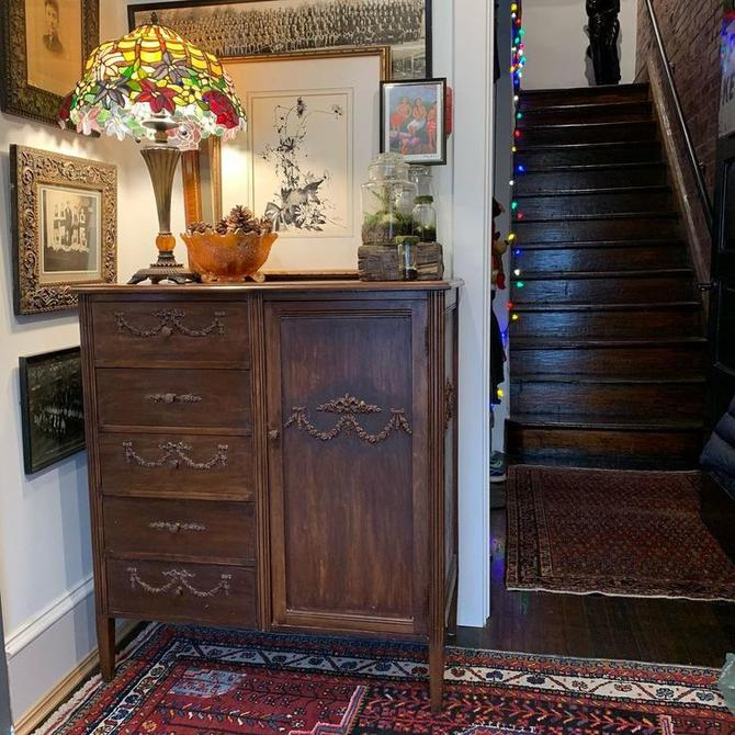 Ornate chifforobe, 5 drawers with hanging space on right