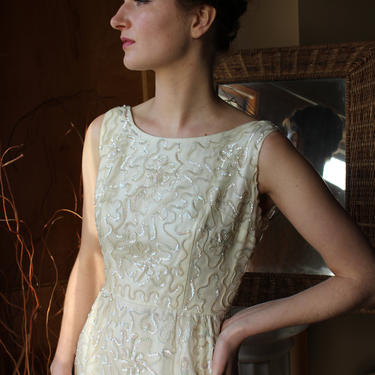 1960's Cream Wiggle Dress with Swirling Sequins by Ferngodvintage