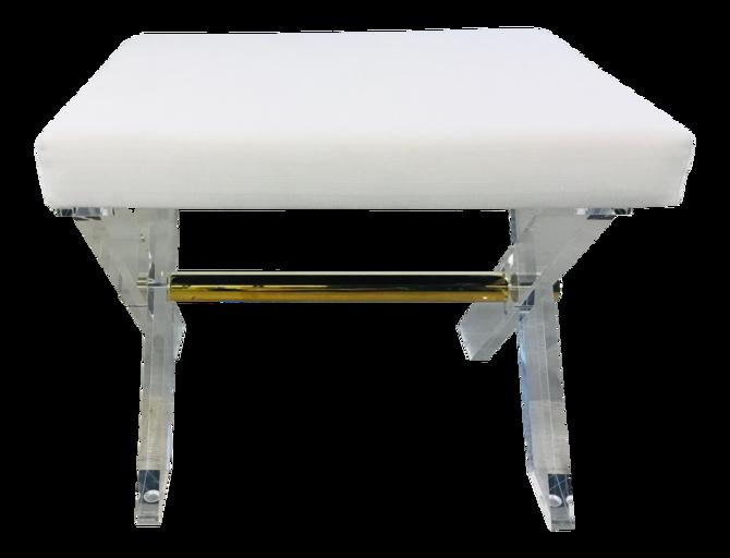 Worlds Away Contemporary White and Brass Acrylic Dixon Stool