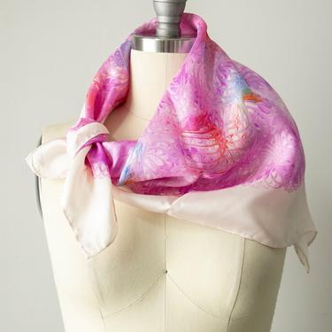 Vintage Silk Scarf Burmel DEADSTOCK Italy Marble Pink by dejavintageboutique