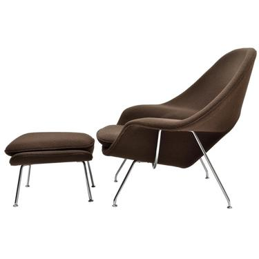 Knoll Womb Chair and Ottoman Designed by Eero Saarinen