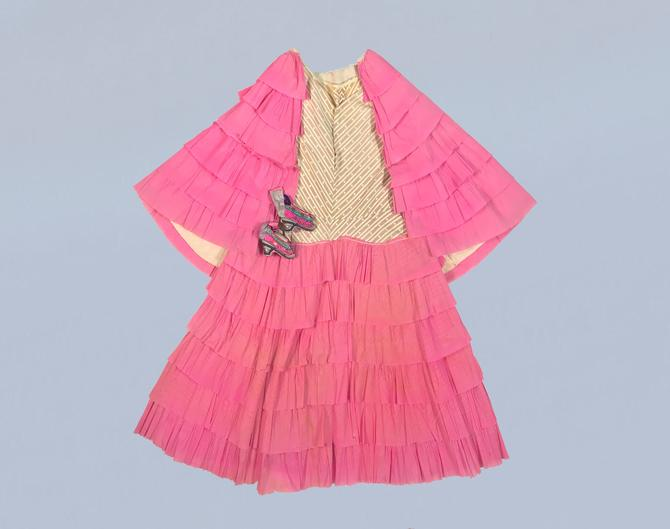 RARE Antique Halloween Dress / 1920s Crepe Paper Costume Dress and Capelet! / PINK Paper and Printed Cotton by GuermantesVintage