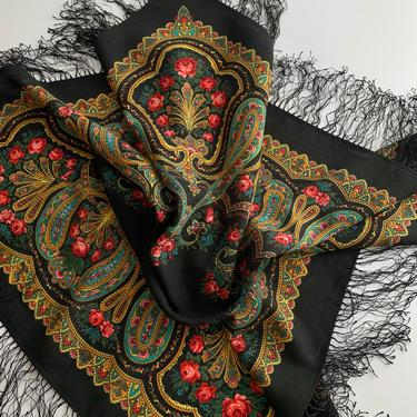Vintage Paisley Scarf in Black with Vivid Colors - All Wool - 35-1/2 Inches x  35-1/2 Inches Plus 4 Inches of Fringe by GabrielasVintage