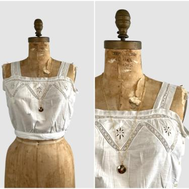 YOUNG EDWARDIAN Antique 1900s White Cotton & Lace Camisole | 1910s Crop Blouse Under Top Lingerie Corset Cover | Boho Bohemian | Size Medium by lovestreetsf