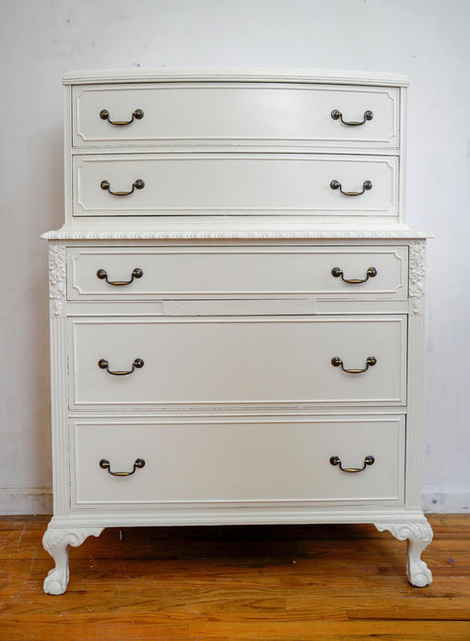 Antique Highboy Dresser, Vintage White Dresser, Chest of Drawers, Chic Dresser, Ball and Claw Feet, Painted Dresser, Free NYC Delivery by AntiqueBoutiqueNYC