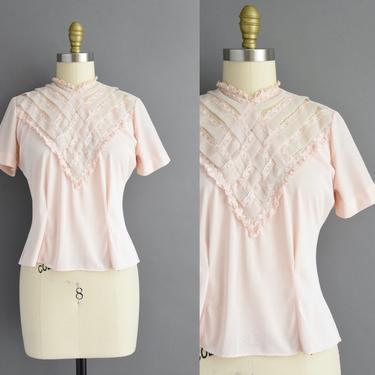 1950s vintage blouse | Pastel Pink Nylon Lattice Short Sleeve Blouse | Medium | 50s blouse by simplicityisbliss