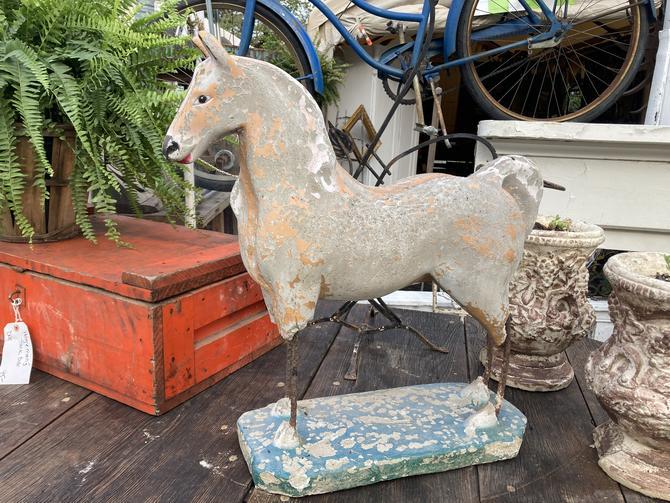 Vintage Concrete and Iron Horse Statue