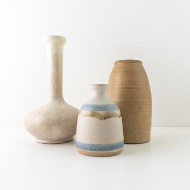 Vintage Pottery Vases, Sold Separately, Cream Gray Long Neck Bulbous Vase, Mustard Yellow Stoneware Pot, Small Ceramic Bud Vase by PebbleCreekGoods