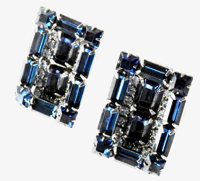 Weiss Large Modernist Rectangular Earrings with Rectangular Cobalt Rhinestones by LegendaryBeast