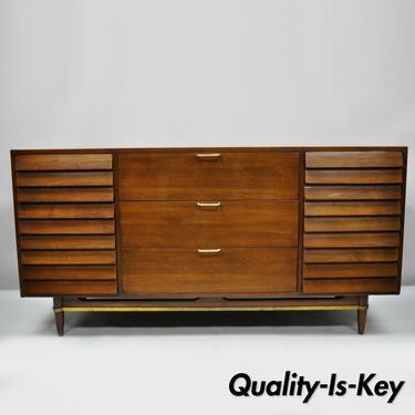 American Martinsville Walnut Louvered Drawer Mid Century Modern Dresser Credenza