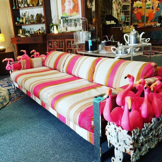 Pink Striped Milo Baughman sofa. 1972. $850