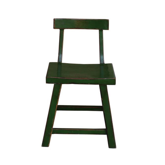 Distressed Grass Green Short Chair Wood Stool with Back cs1231E by GoldenLotusAntiques
