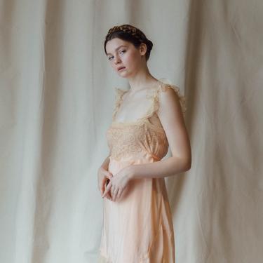 RARE c. 1920s baby pink silk and ecru lace slip OOAK Art Deco lingerie by DevoreVintage