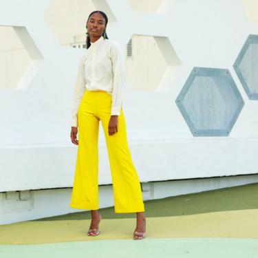 60s Bright Yellow High Waisted Textured Trousers Vintage Flared Pleat Pants by AppleBranchesVintage