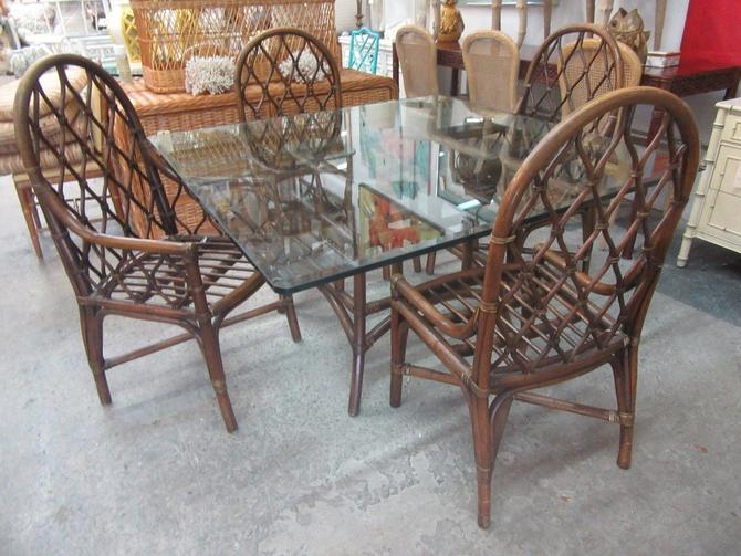 Square Rattan Dining Table & Chair Set