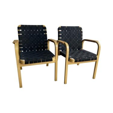 Pair of Alvar Aalto Chairs with Black Straps, Finland, 1960's