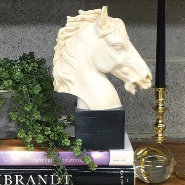 Vintage Statue Retro 1980s Contemporary + Horse Head + A Santini + Resin + Book End + Sculpture + Figurine + Home and Shelving Decor by RetrospectVintage215