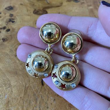 Fun Gold Dangle Star & Crystal Dangle Earrings