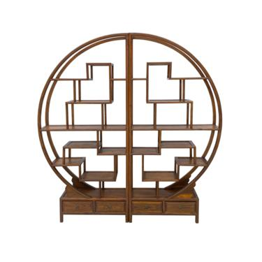 Chinese Round Shape Display Curio Cabinet Room Divider cs6965E by GoldenLotusAntiques