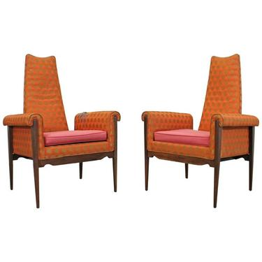 Pair of Mid-Century Danish Modern High-Back Rolled Open Arm Chairs by AnnexMarketplace