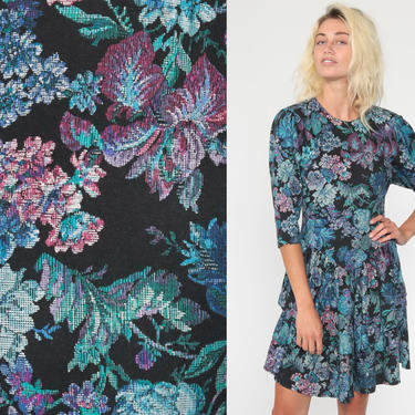Tapestry Floral Dress 80s Mini Puff Sleeve Skater Full Skirt Drop Waist 1980s Dolman Boho Vintage Blue Rose Print Black Extra Small xs by ShopExile