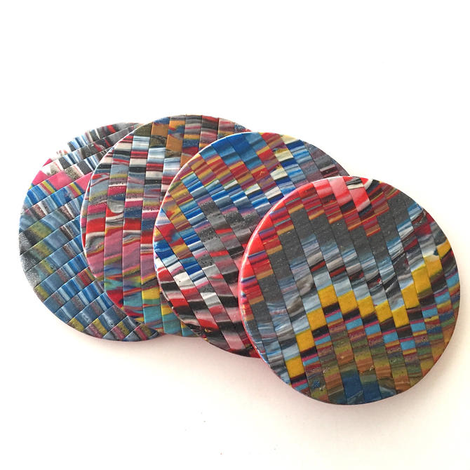Handmade polymer clay coasters - bargello technique by ChrisBergmanHandmade