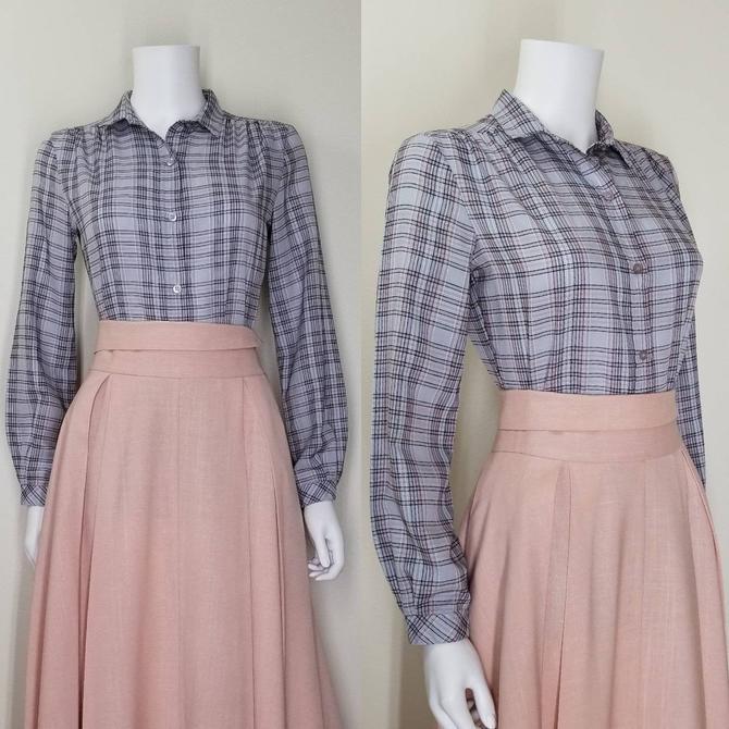 Vintage 70s Button Blouse, Medium / Gray Plaid Day Blouse / Plaid Prairie Blouse / Womens Long Sleeve Button Shirt / Country Western Shirt by SoughtClothier