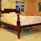 Tulip Top High-low Style Bed in Maple. Original posts Circa 1830. Resized to Queen with Bend back headboard