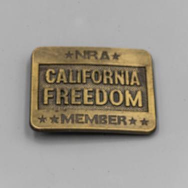 NRA California Freedom Belt Buckle Brass | National Rifle Association Vintage Men's Accessory by MostlyMidCenturySF