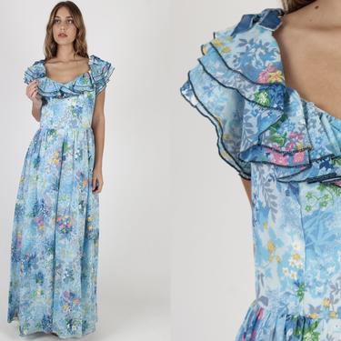 Victor Costa Maxi Dress / Floor Length Blue Floral Dress / Vintage 70s Designer Ruffled Sweeping Long Full Length Bridal Ceremony Dress by americanarchive