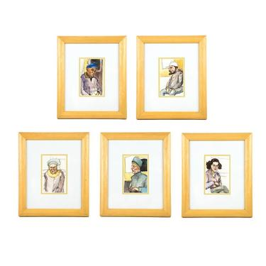 Set of 5 Watercolor Portrait Paintings Unsigned by BluffStProps