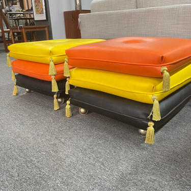 Pair of Whimsical Rolling Stools with Stacking Tassled Pillows