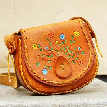 Vintage 70's Tooled Leather Shoulder Bag With Colorful Flower Design, Hand Made/Hand Painted Woven Leather Purse W/ Long Tan Leather Strap by shopGoodsVintage