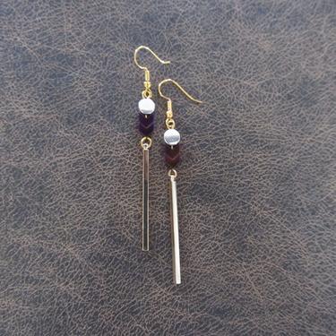 Minimalist earrings, long geometric brass earrings, mid century modern earrings, Brutalist earrings, purple hematite earrings, gold dangle by Afrocasian