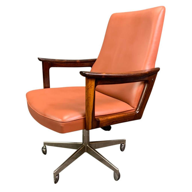 Vintage Danish Mid Century Modern Executive Chair in Rosewood and Leather in the Manner of Arne Vodder by AymerickModern